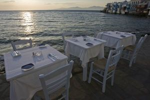 cafe tables chairs/greece mykonos hora dinner tables overlooking