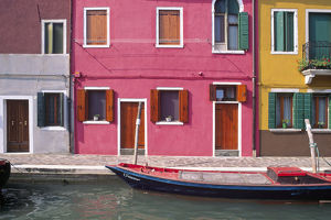 architecture/italy burano colorful house exteriors boat canal