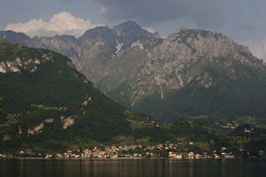 ITALY, Lecco Province, Lierna. Town and mountains of the Grigne Regional Park
