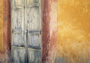 architecture/italy lipari weathered wall door credit as