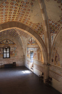 ITALY, Varese Province, Angera. Murals in the Justice Room, La Rocca fortress