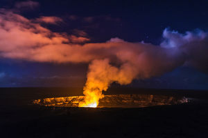 Lava steam vent glowing at night in the Halemaumau Crater, Hawaii Volcanoes National Park