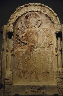 Marble PROSKYNETARION with enthroned Christ. From Peribleptos. Second half of the