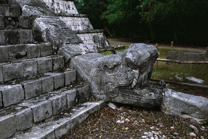 Mexico, Chichen Itza, Stone snake head