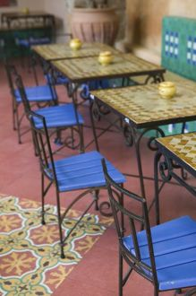 cafe tables chairs/morocco casablanca ancienne old medina squala