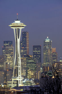 N.A., USA, Washington, Seattle. Space Needle and downtown at night