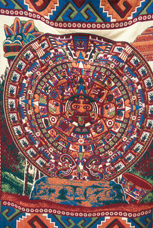 North America, Mexico, Teotihuacan, souvenir blanket with colorful Aztec calendar design