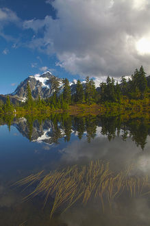 North America,USA,Washington,Mt. Shucksan Reflecting in Picture Lakewith Autumn Color
