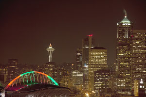 North America,USA,Washington,Seattle,Christmas Lights on City
