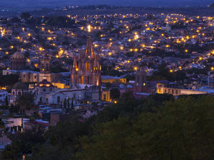 North America;Mexico;San Migel de Allende;Evening City View from above City with