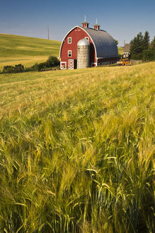 usa/north americausawashingtonred barn field harvest