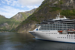 Norway, Sogne Fjord (aka Sognefjord), the longest fjord in the world. Cruise ship