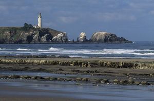 OR, Oregon Coast, Newport, Yaquina Head lighthouse, completed in 1873, 93 foot high