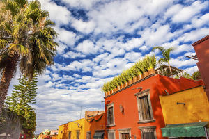 Orange Yellow Town Street Tourists Hotels San Miguel de Allende Mexico
