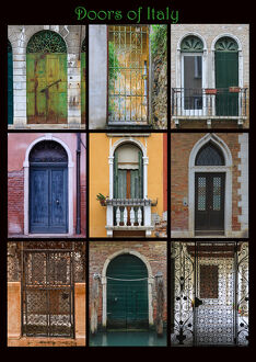 A poster featuring doors found throughout northern Italy