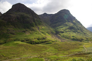 Scotland, Glen Coe valley off the A82 between Tyndrynm and Glencoe, beautiful sweeping mountains