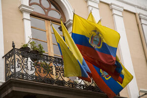 South America, Ecuador, Pichincha province, Quito. National flags of Ecuador hang