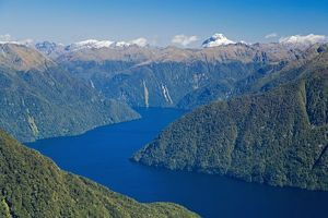 South Fiord, Lake Te Anau, Fiordland National Park, South Island, New Zealand - aerial