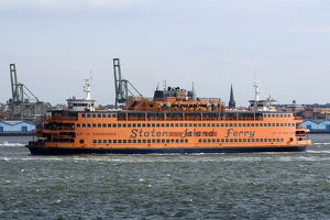 Staten Island Ferry in the harbor at New York City, New York, USA