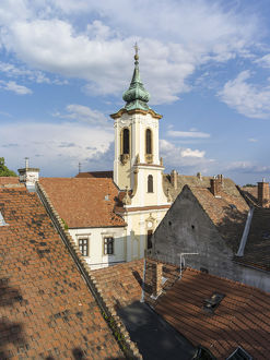 Szentendre near Budapest. Roofs of the old town and the Blagovescenska church. Szentendre