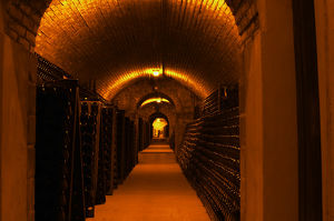 underground wine cellar thousands bottles aging