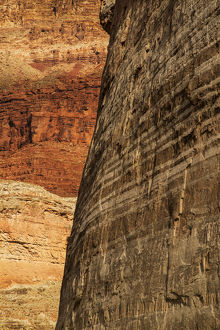 USA, Arizona, Grand Canyon National Park. Striated sandstone wall in Marble Canyon