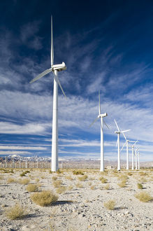 USA, California, Palm Springs. Windmill Farm along North Indian Canyon Drive