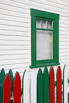 USA, California, San Diego. House painted in Italian colors, Little Italy neighborhood