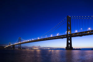 USA, California, San Francisco, Embarcadero, The Bay Bridge, dawn
