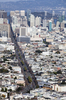 USA, California, San Francisco, Twin Peaks, late afternoon elevated downtown view
