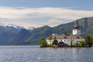 View of schloss Ort (castle) at Traunsee lake, Upper Austria, Austria