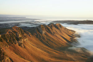 View of Te Mata Peak and Early Morning Mist, Hawkes Bay, North Island, New Zealand