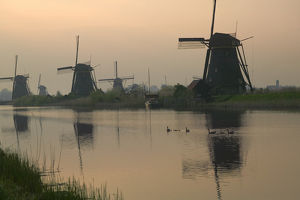 Windmills along the canal in Kinderdijk, Netherlands
