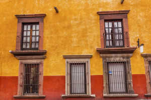 Yellow Red Wall Brown Windows Metal Gates San Miguel de Allende Mexico