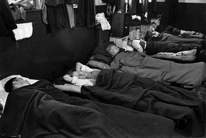Blitz in London -- irefighters sleeping during the day, WW2