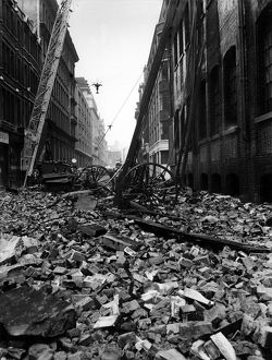 Blitz in London -- ladders and rubble, WW2