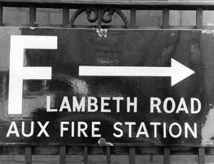 Enamel sign pointing to Lambeth Road Fire Station