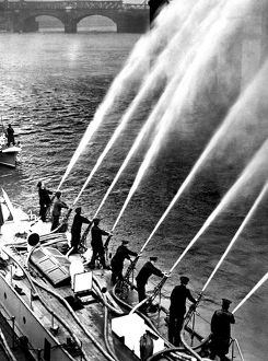Fireboat Massey Shaw with eight hoses pumping