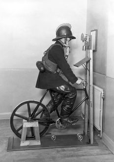 Firefighter undergoing ergometer test