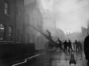 Firefighters in action, Miles Street, Vauxhall, SW8
