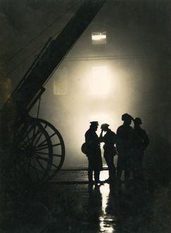 Firefighters standing by during the Blitz, London in WWII LFB150