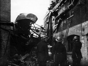 Firefighters at work in Bermondsey, WW2