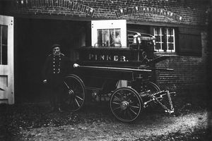 George Beaumont with manual fire engine, Pinner