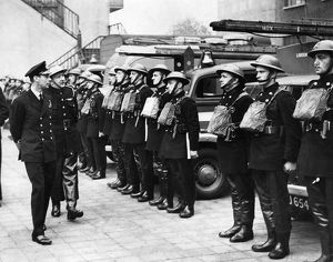 King George VI inspecting firefighters on parade, WW2