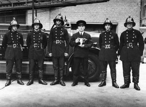 LFB firefighting crew with open pump vehicle