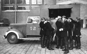 London Fire Brigade with canteen van, WW2