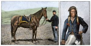 US Army survivors of Custer's Last Stand - horse and scout, Curley