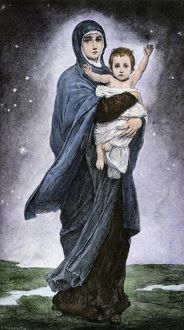 Baby Jesus with his mother, Mary