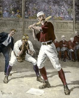 Baseball game in the 1880s