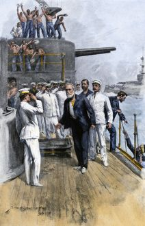 Battleship Iowa receiving prisoners, Spanish-American War